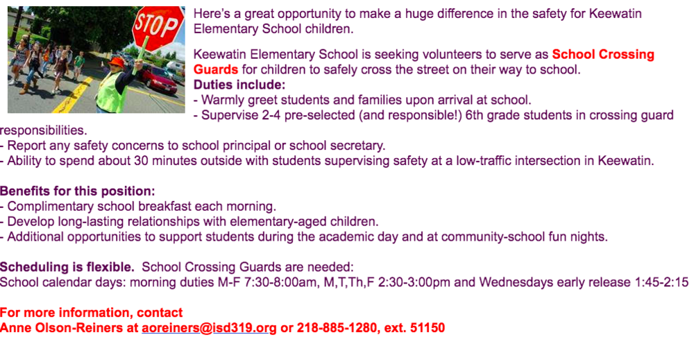 Volunteer with Safety Patrol