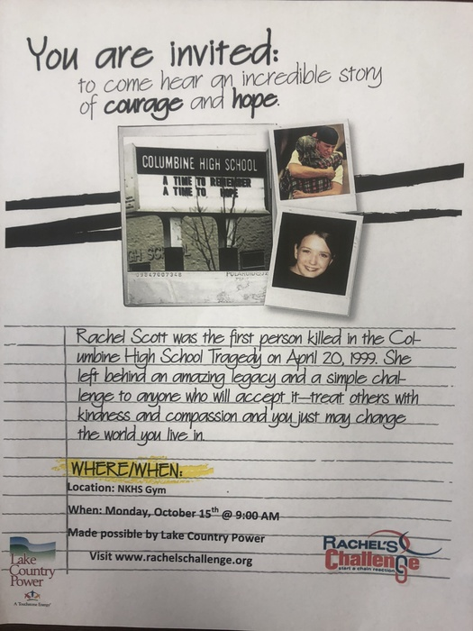 Rachel's Challenge is coming to NKHS Oct. 15th 9AM in the big gym.  Parents are welcome to join us!