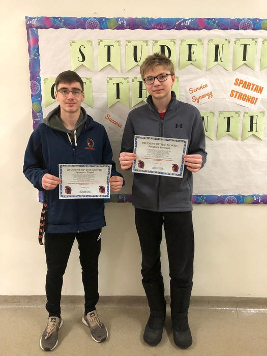 February Students of the Month!  Congrats, Spencer and Rieghley